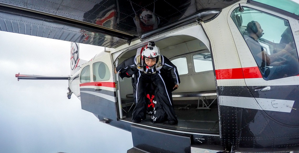 Roberta Mancino testing her new wing suit in Fano