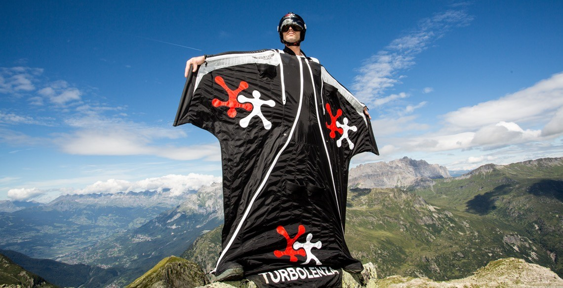 Alex Duncan training wing suit in Chamonix