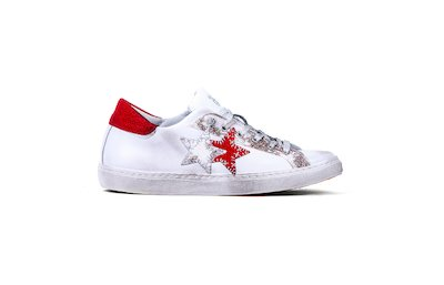 SNEAKER LOW WHITE-LAMINATED RED