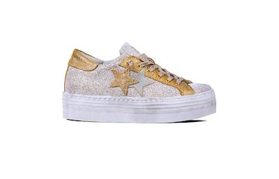 SNEAKER LOW HIGH SOLE GHIACCIO-ORO