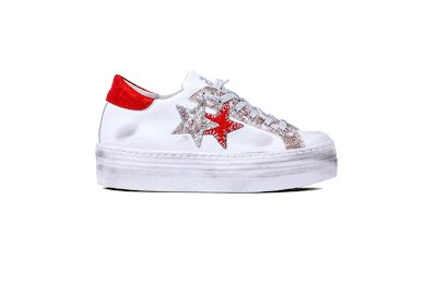 SNEAKER LOW HIGH SOLE WHITE- LAMINATED RED