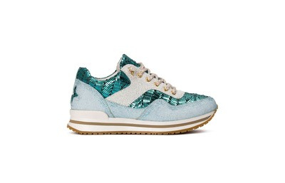 Sneaker low aquamarine/ white