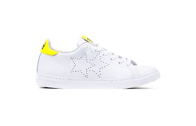 SNEAKER LOW WHITE- FLUO YELLOW