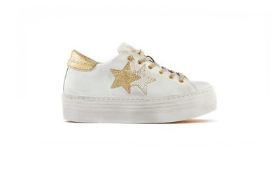 SNEAKER LOW HIGH SOLE BIANCO ORO
