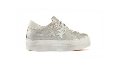 SNEAKER LOW HIGH SOLE SILVER- WHITE