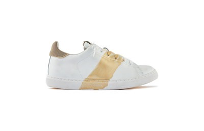 SNEAKER LOW WHITE HAND PAINTED GOLD