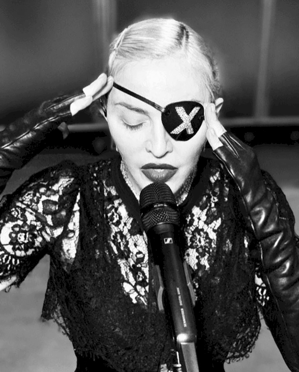 Madonna NYC Pride 2019:<br />Social Media@madonna instagram<br />Model: Madonna<br />Stylist: Eyob Yohannes<br />Photographer: unknown<br />Gloves: Lola Fergie