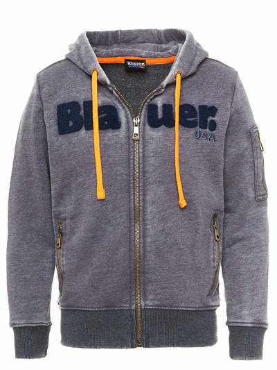 SWEATSHIRT OPEN AT THE FRONT WITH ZIP AND HOOD