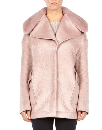 Wool Angora Jacket With Mink Collar