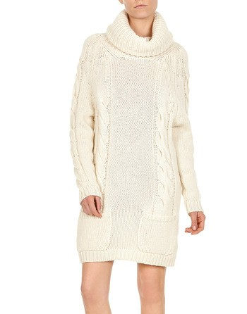 Ivory Cashmere Turtleneck Sweater Dress