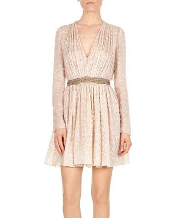 Lurex Dress With Embroidered Waist
