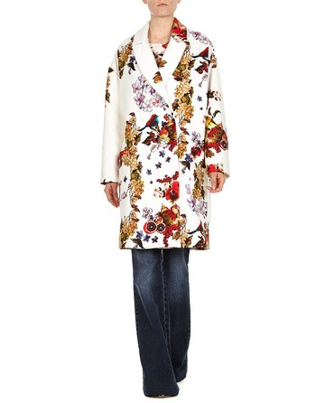 Fruit And Flowers Print Flannel Coat