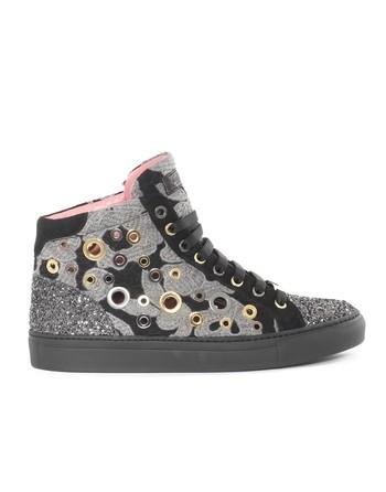 Sneaker Alta In Macramé E Glitter