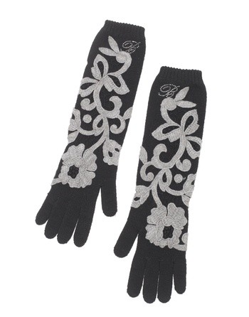 Wool Gloves With Macramé Lace Flowers