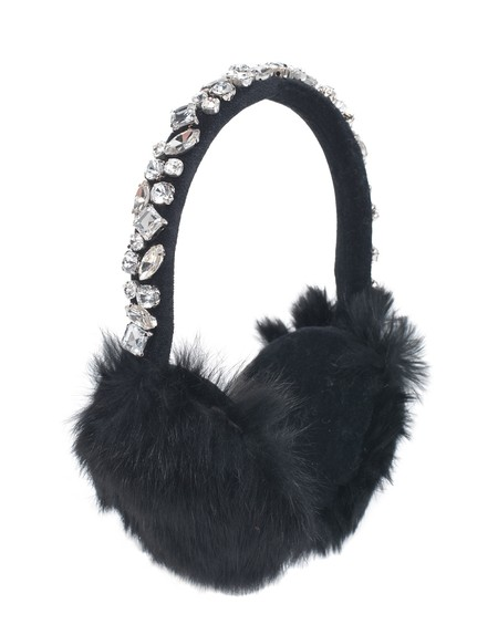 Embroidered Rabbit Fur Earmuffs