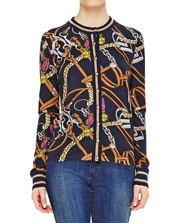 Stretch Cardigan With Stirrups Print