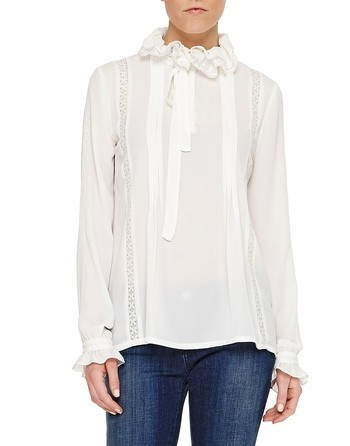 Chiffon Blouse With Lace And Rouches