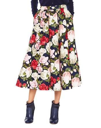 Falda Midi Con Estampado De Rosas