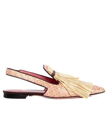 Туфли-лодочки на плоской подошве с верхом из рафии и бахромой