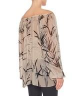 Blusa in Chiffon di Seta Stampa Bamboo