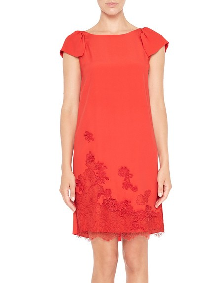 Crêpe de Chine Dress With Lace and Embroidery