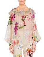 Блузка из шёлкового шифона с цветочным принтом
