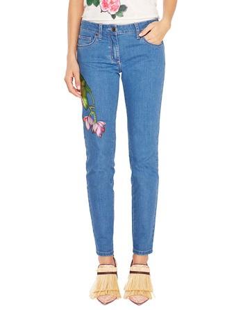 Пятикарманные джинсы скинни с цветочной аппликацией