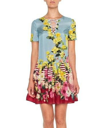 Kleid Aus Seide Mit Blumen- Und Streifenprint