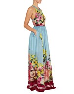 Long Flower and Stripe Print Silk Dress