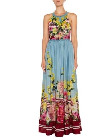 Длинное шелковое платье с цветочно-полосатым принтом