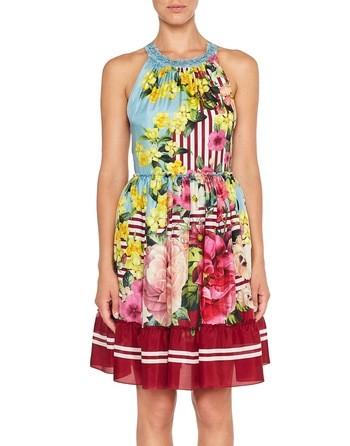 Шелковое платье с цветочно-полосатым принтом