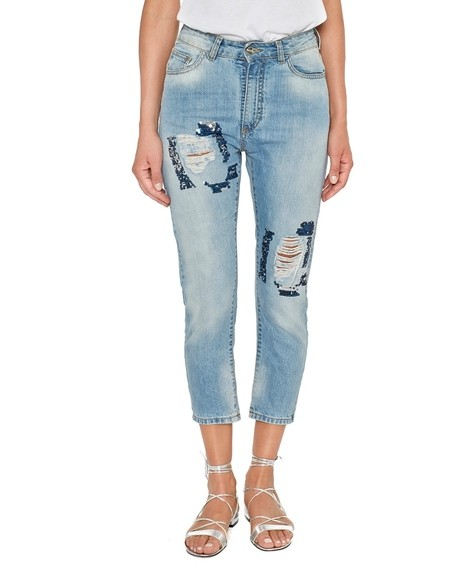Jeans Boyfriend Stonewashed Con Strappi