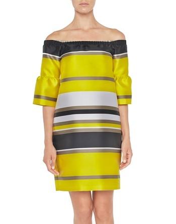 Kleid Aus Mikadoseide Mit Streifen