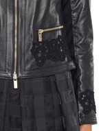 Leather and Twill Jacket With Lace