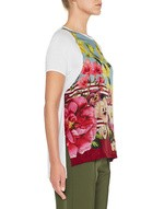 Jersey and Silk T-Shirt With Flower Print