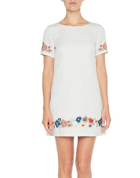 Жаккардовое платье с цветочной вышивкой