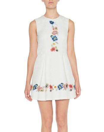 Vestido De Jacquard Con Bordado Floral