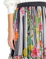 Stripe and Cactus Print Silk Skirt