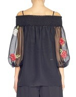 Blusa in Chiffon Ricamo Rose
