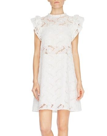 Платье А-образного силуэта из кружева Сангалло с узором «розы»