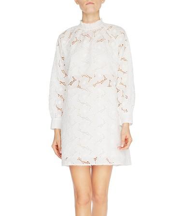 Платье А-образного силуэта с длинными рукавами из кружева Сангалло с узором «розы»