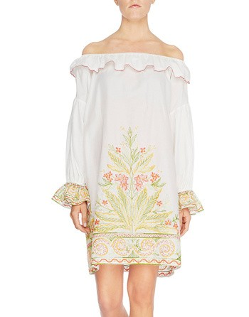 Cotton Mini Dress With Ethnic Embroidery