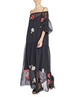 Vestido largo de chiffon con bordado de rosas