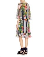 Stripe and Cactus Print Silk Dress