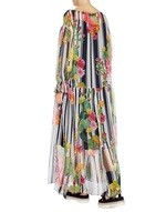 Stripe and Cactus Print Long Silk Dress