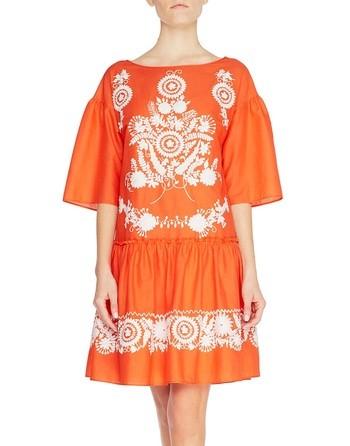 Vestido De Algodón Con Bordado Folk