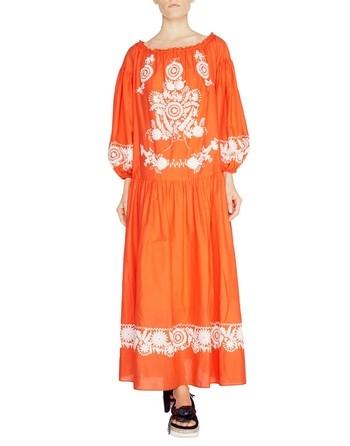 Длинное хлопчатобумажное платье с вышивкой в этническом стиле