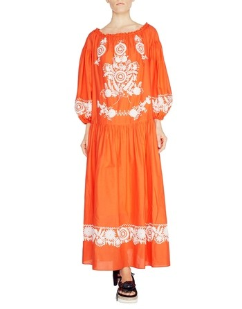Vestido Largo De Algodón Con Bordado Folk