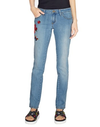 5-pocket Skinny Jeans With Embroidery
