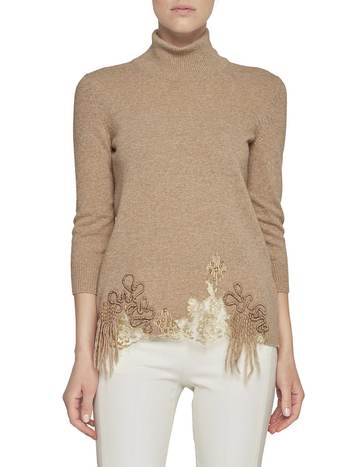 Jumper With Lace And Fringes